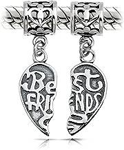 Bff Best Friends Forever Puzzle Two Piece Split Heart Shape Dangle Bead Charm 925 Sterling Silver Fits European Bracelet