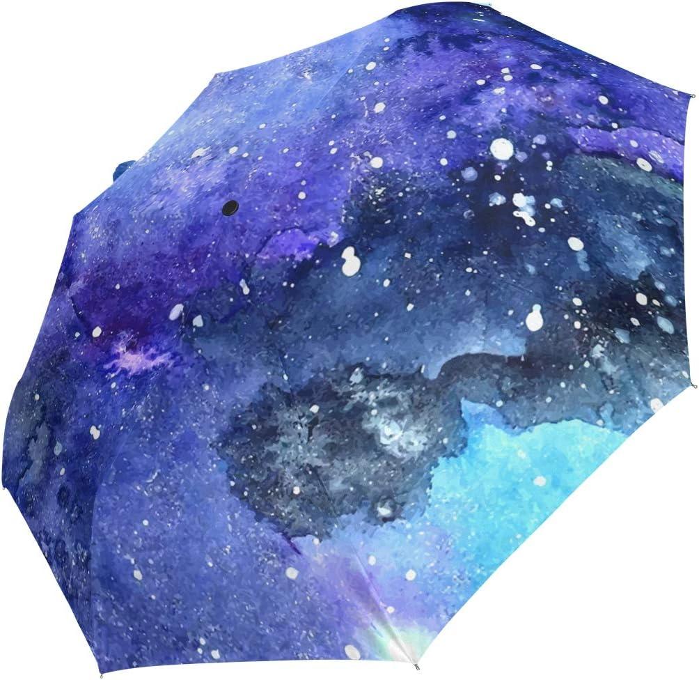 Mini Folding Umbrella Watercolor Max 90% OFF Painted Blue Windp Night Purple Award