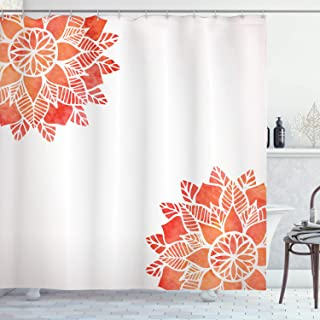 Ambesonne Floral Shower Curtain by, Watercolors Lace Flower Petals in Soft Pastel Tones with Eastern Effect Design, Fabric Bathroom Decor Set with Hooks, 70 Inches, Dark Coral White