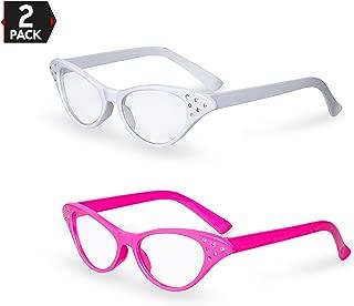 Big Mo's Toys Pink / White Cat Eye Retro Costume Dress Up Hip Hop Rhinestone Glasses (2 Pack)