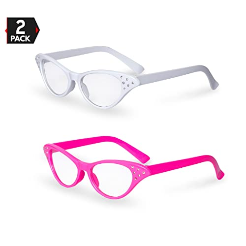 643b35cd95 Pink   White Cat Eye Retro Costume Dress Up Hip Hop Rhinestone Glasses (2  Pack
