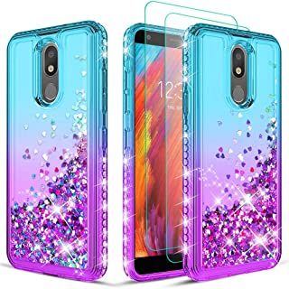Wallme LG Escape Plus Case,LG Aristo 4 + Plus/Tribute Royal/Journey LTE/Neon Plus Phone Case w/ Screen Protector[2 Pack] for Girls Women -Teal/Purple