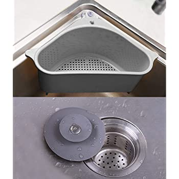 esquina. Estante de drenaje para fregadero ba/ño soporte de esponja para fregadero de cocina cesta triangular para fregadero