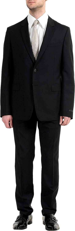 Prada Men's Wool Mohair Black Two Button Suit US 44R IT 54R