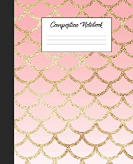 Composition Notebook: Faux Gold Glitter Ombre Pink Champagne Mermaid Scales College Ruled Notebook Lined School Journal   100 Pages    7.5 x 9.25