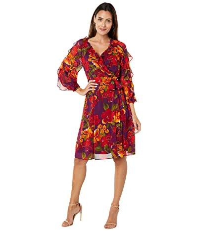 Calvin Klein Printed Dress with Ruffle Sleeves