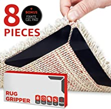 Perfectostore Rug Gripper- 8pcs Black Anti Curling Rug Gripper. Anti Slip Straight Carpet Gripper for Corners and Edges