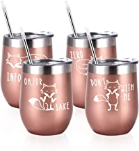 4 Pack Funny Animal Stainless Steel Wine Tumbler Set, Funny Birthday Christmas Gifts for Women Friends Mom Wife Sister Grandma Coworker, 12 Oz Novelty Insulated Stainless Steel Wine Tumbler, Rose Gold