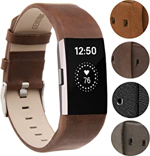 Compatible for Fitbit Charge 2 Bands, VOMA Genuine Leather Replacement Wristbands Bands for Fitbit Charge 2 Women Men Small Large Chobrn