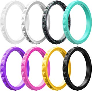 ThunderFit Thin and Stackable Silicone Rings, 8 Rings / 4 Rings / 1 Ring - Silicone Wedding Bands for Women - Diamond Pattern