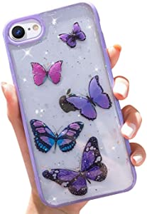 Butterfly Bling Clear Case Compatible with iPhone SE 2020 Case, iPhone 8 Case, iPhone 7 Case, wzjgzdly Glitter Case for Women Cute Slim Soft Slip Resistant Protective - Purple