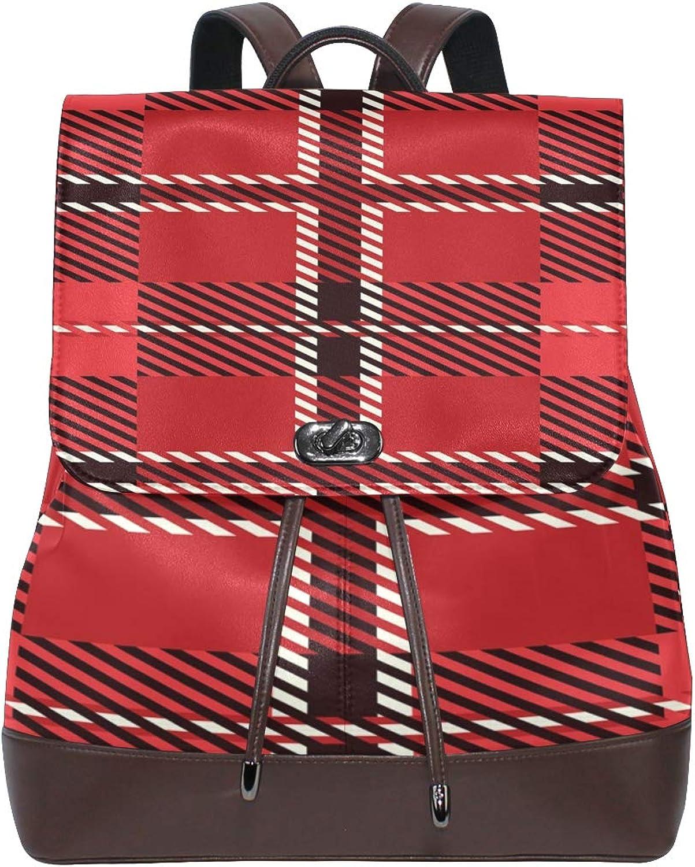FAJRO Red Royal Stewart Tartan Travel Backpack Leather Handbag School Pack
