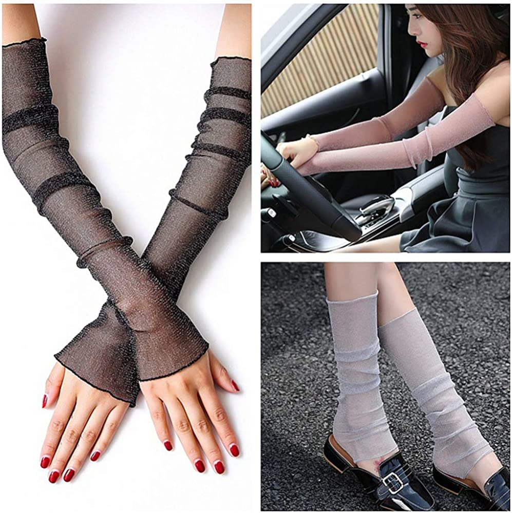 Women's UV Protection Long Lace Gloves Cooling or Warmer Arm Sleeves 2 Purposes Sunscreen Cuffs
