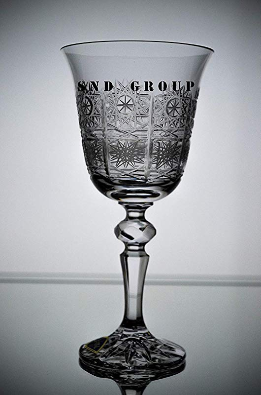 BOHEMIAN CRYSTAL GLASS WINE GLASSES 8 Oz 250 Ml SET Of 6 HAND CUT VINTAGE LACE DESIGN STEM GOBLETS For WINES RED WHITE Or WATER CLASSIC CZECH CRYSTAL GLASS