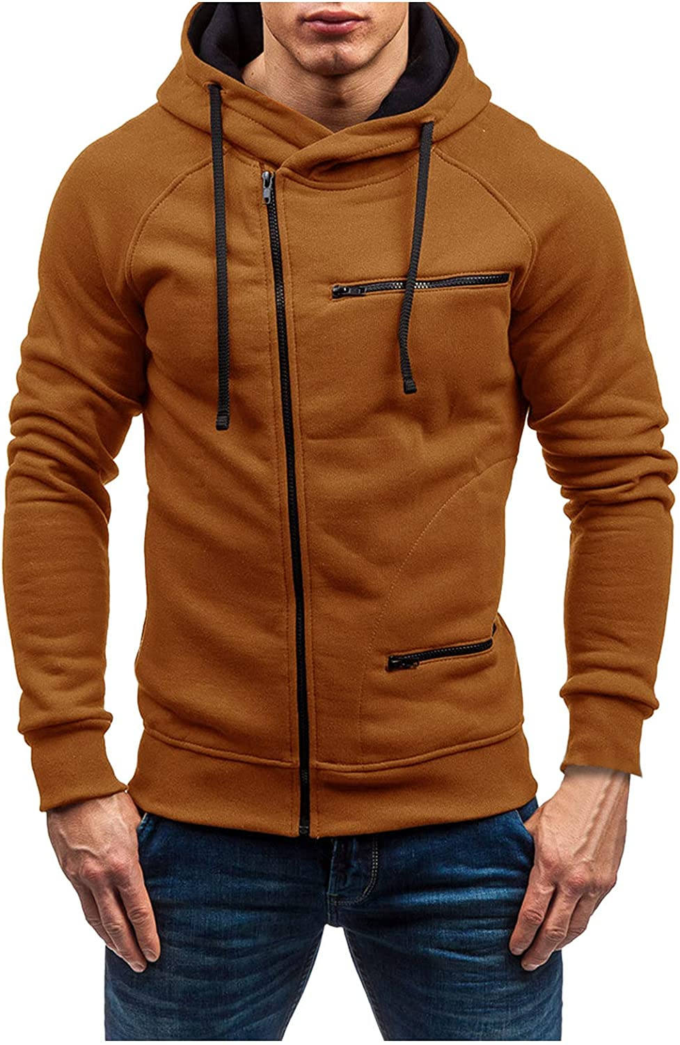 HONGJ Zipper Hoodies for Mens, Fall Color Block Drawstring Hooded Sweatshirts Slim Fit Sports Workout Casual Jackets