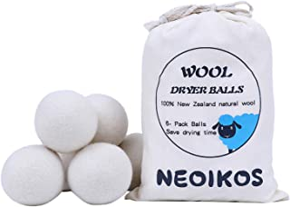 Wool Dryer Balls XL-6 Pack,Natural Fabric Softener,Handmade Reusable Balls,New Zealand Wool,Organic Laundry Balls for Sensitive Skin&Baby,Shorten Drying Time,Neoikos