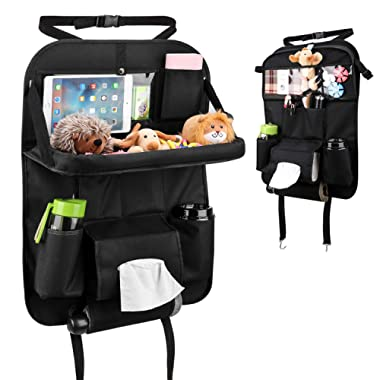 MoKo Back Seat Car Organizer, Car Storage Bag Holder, Anti Kicking Mat & Auto Backseat Protector with Foldable Dining Table, Clear Tablet Holder for Kids & Family Road Trip Accessories - Black