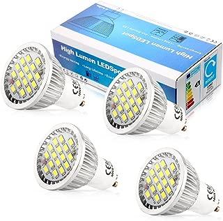 Elinkume 5W LED Gu10 light Bulb , 110V Cool White 6500k ,120 Degree Beam Angle ,Undimmable LED Soptlight bulb (4 Pack)