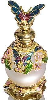Waltz&F Green Butterfly Jeweled Vintage Perfume Bottle Empty Refillable Essential Oil Bottle 15ml