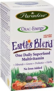 Paradise Herbs Orac-Energy Multi Without Iron - with Fruits and Vegetables - Antioxidant Power - Gluten Free - 60 vcaps (P...
