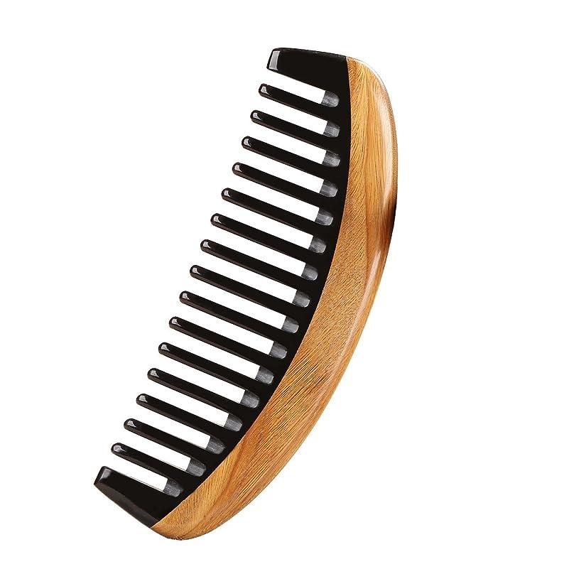 スケッチマイコン肘広々とした歯の手作りニームウッドコーム、グリーンサンダルウッドアンチスタティックデタングルリングホーンコーム女性、男性と女の子、厚く、波状の毛、アンチフケ、非静的、環境に優しいヘアコーム