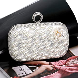 Fine Bag/Womens Glitter Clutch Bag Bling Evening Bridal Prom Party Handbag Purse Banquet Bag (Color : White, Size : One Size)