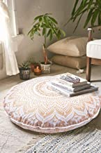 GDONLINE Indian Mandala Cotton Handmade Gold Ombre Round Floor Pillow Ethnic Round Floor Cushion Case Art Ombre Mandala Yoga Mat 32x32 Round