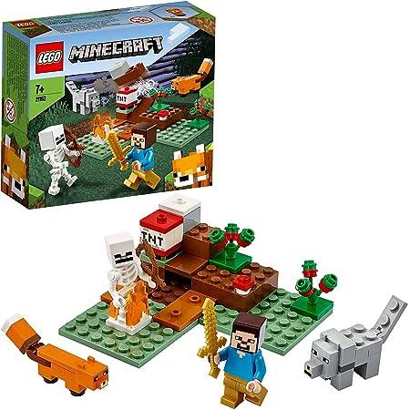 LEGO Minecraft Avventura nella Taiga, Set di Costruzioni con Figure di Steve, Lupo e Volpe, Giocattoli per Bambini dai 7 Anni in su, 21162
