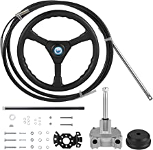 VEVOR Rotary Steering Kit 16 Feet Steering Cable Boat Steering System Outboard Steering Cable Kit with Rotary Helm, Steeri...