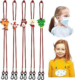 5pcs Adjustable Cartoon Face Covering Lanyard Extender for Kids, Anti-Lost Face Covering Lanyard Strap with Clip Convenien...