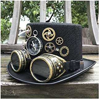 SHENTIANWEI New Unisex Men Women High-end Handmade Steampunk Top Hat with Gear Glasses Magic Hat Party Hat Size 57CM