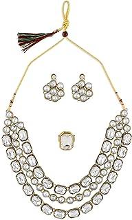 Zaveri Pearls Gold Tone Ethnic Multi Layered Ethnic Necklace Earring & Ring Set For Women-ZPFK10502