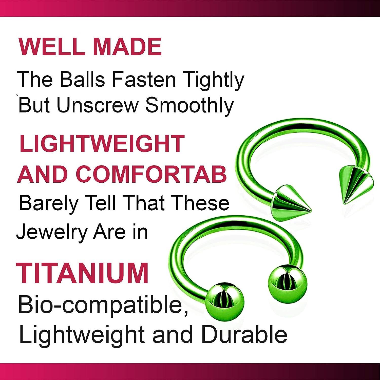 bodyjewellery 2pcs 16g 8mm Circular Barbell Titanium Septum Snake Nose bite Cartilage Ring Eyebrow Ear Tragus Lip Helix B2QCN - Pick Color