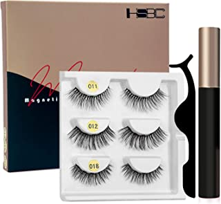 HSBCC 2019 Upgraded Magnetic Eyeliner and Lashes Magnetic Eyelashes Kit False Lashes 3 Style with Tweezers