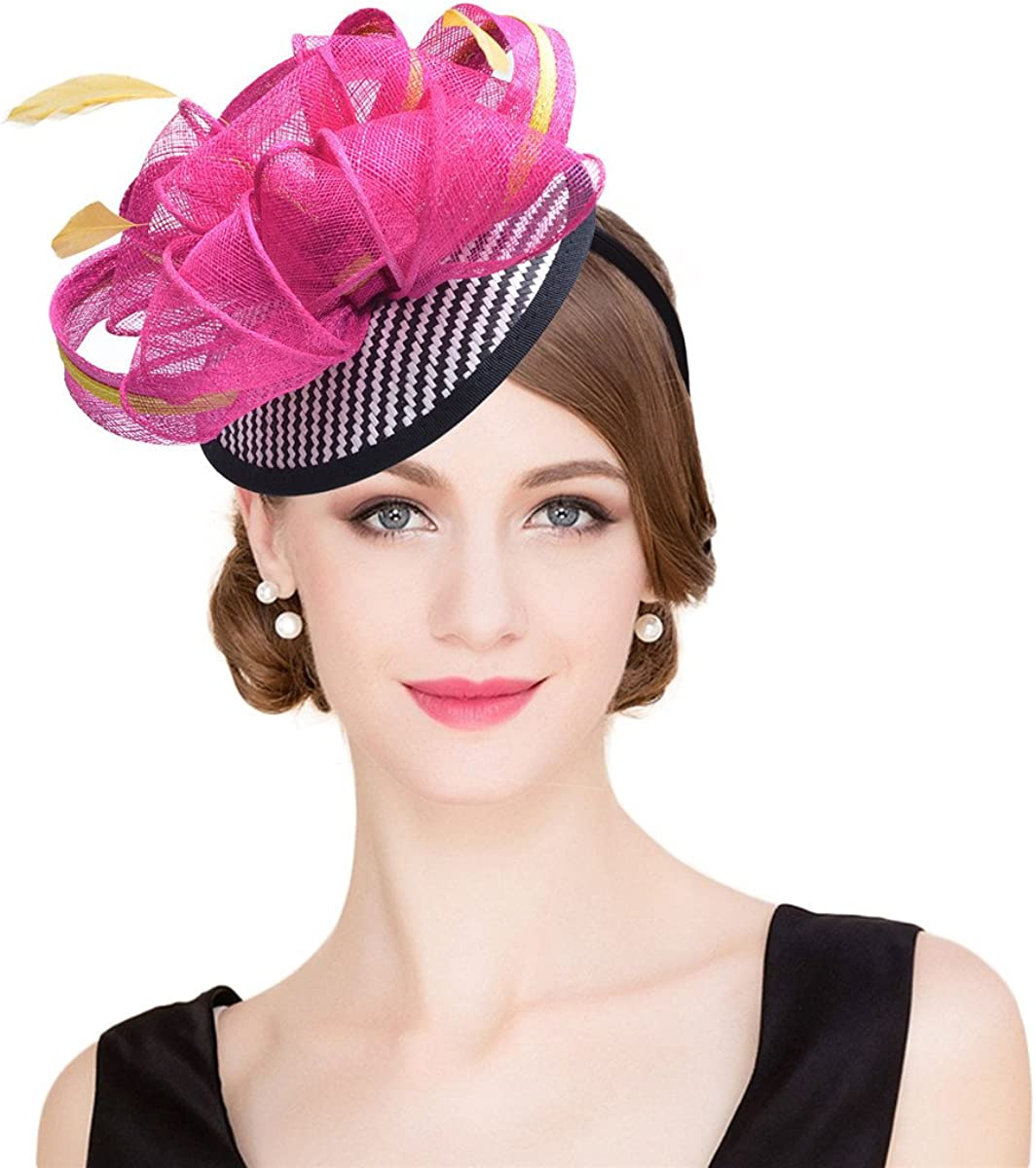 Lawliet Womens Sinamay Cocktail Fascinator Feather Derby Hat T216