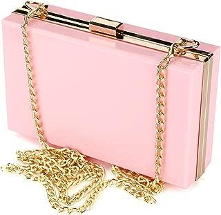 Women Cute Transparent Clear See Through Box Clutch Acrylic Evening Handbag Cross-Body Purse Bag