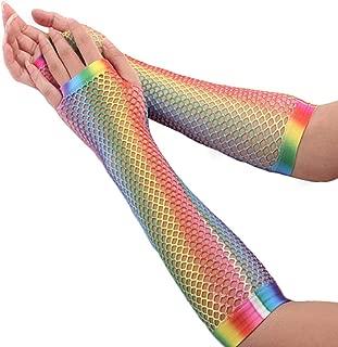SGJFZD 5 Pair Womens Rainbow Mesh Net Gloves Fishnet Gloves Fingerless Elbow Length Long Gloves Wedding Party Sexy Gloves (Color : Multi-Colored)