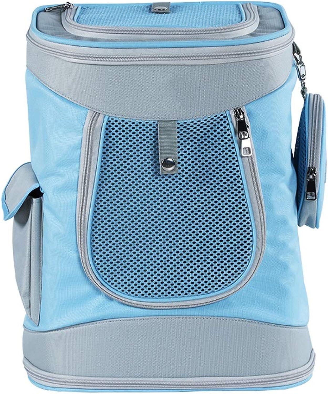 LSLMCS Pet Hand Shoulders Bag,Outdoor Multifunction Pet Backpack, Breathable Folding Carrying Bag Car Pet Bag For excursions (color   bluee)