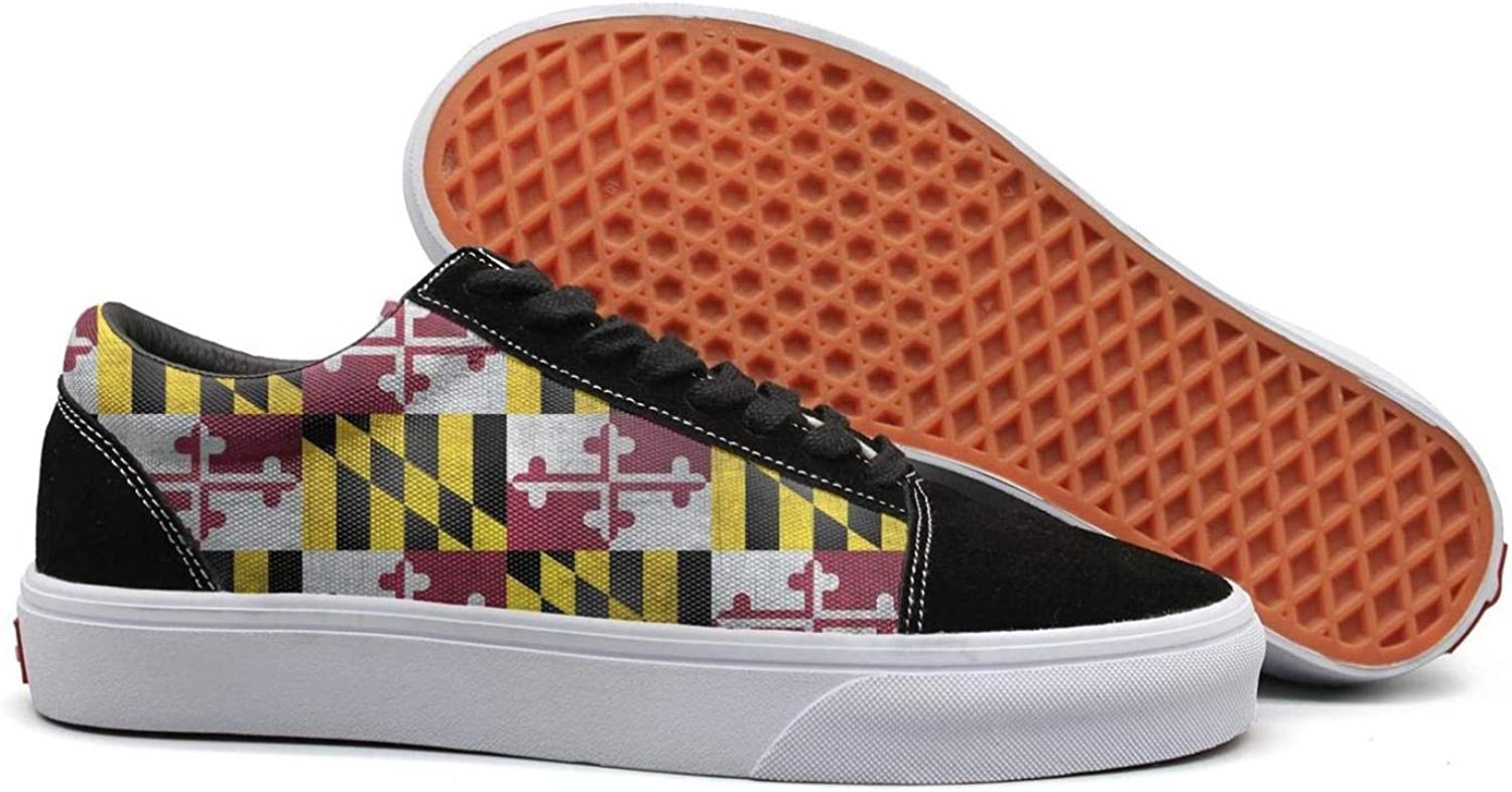 Uieort Cool USA Maryland Flag Womens Lace up Canvas shoes Comfortable