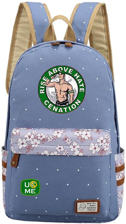 AUGYUESS WWE Cosplay School Bag Daypack Shoulder Bag Bookbag Backpack (Light bluee)