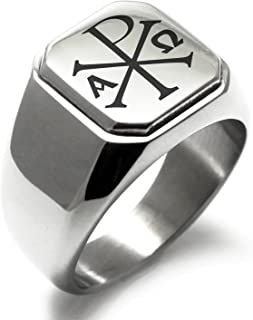 Stainless Steel Chi Rho Alpha Omega Symbol Square Flat Top Biker Style Polished Ring