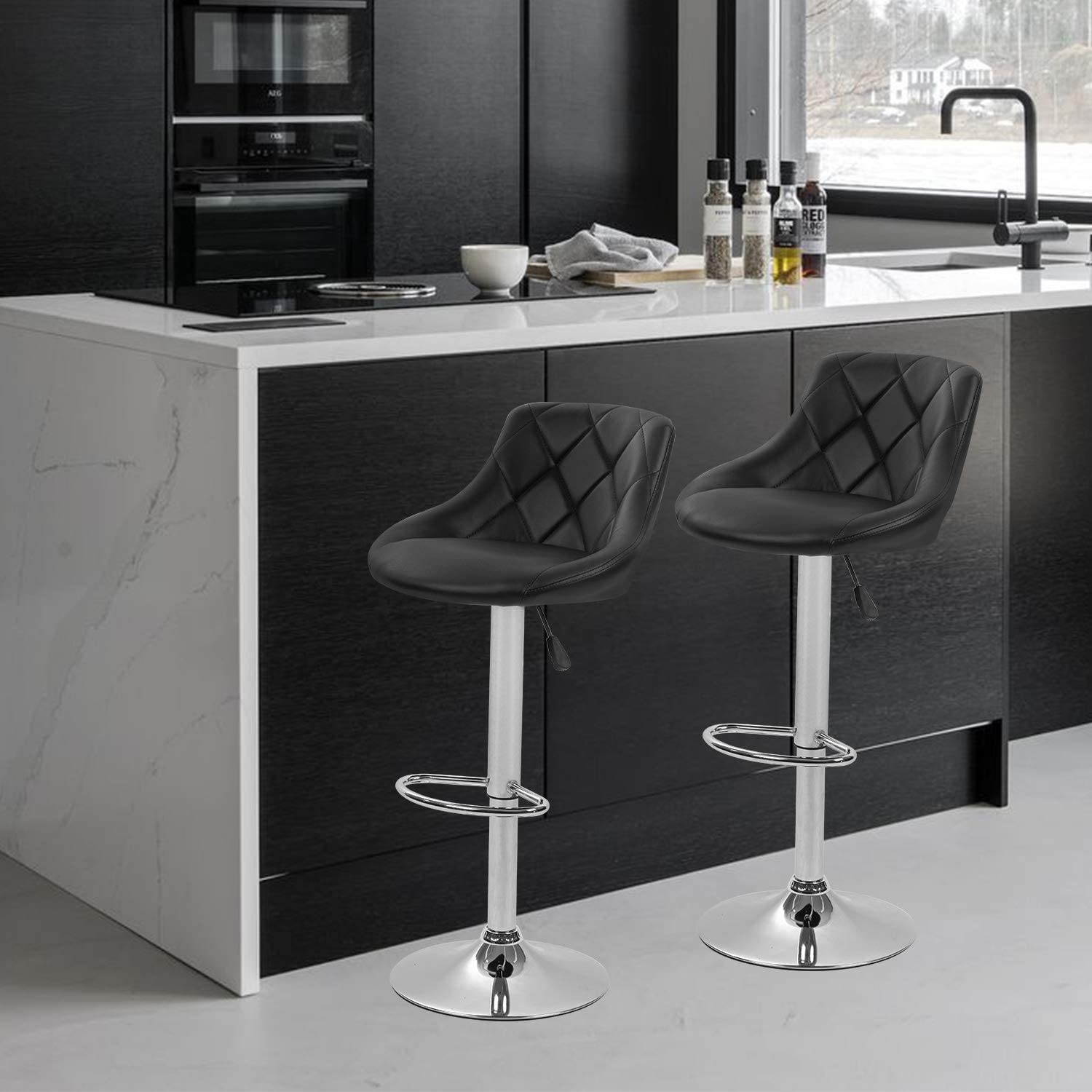 Bar Stools Set of 9 Barstools Swivel Stool Height Adjustable Bar Chairs  with Back PU Leather Swivel Bar Stool Kitchen Counter Stools Dining Chairs