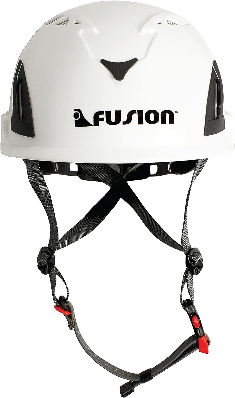 Fusion Climb Meka II Climbing Bungee Zipline Mountain Construction Safety Protection Helmet White : Sports & Outdoors