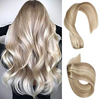 Remy Clip in Hair Extensions Blonde with Ash Blonde Highlights Human Hair Clip in Remy Extensions 7pcs 70 Gram Straight Double Weft for Fine Hair Full Head 18 inch Clip on Extensions for Women