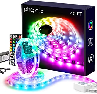 PHOPOLLO Led Lights 40ft for Bedroom RGB Color Changing 180 LEDs Led Lights Kit with Power Supply and Remote