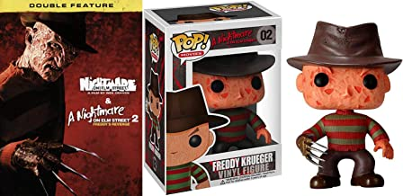 Freddy Krueger 1978 Horror Pack - Wes Craven's Nightmare on Elm Street & Nightmare on Elm Street 2 Double Feature DVD & Action Figure Pop Collectible Thrill Bundle