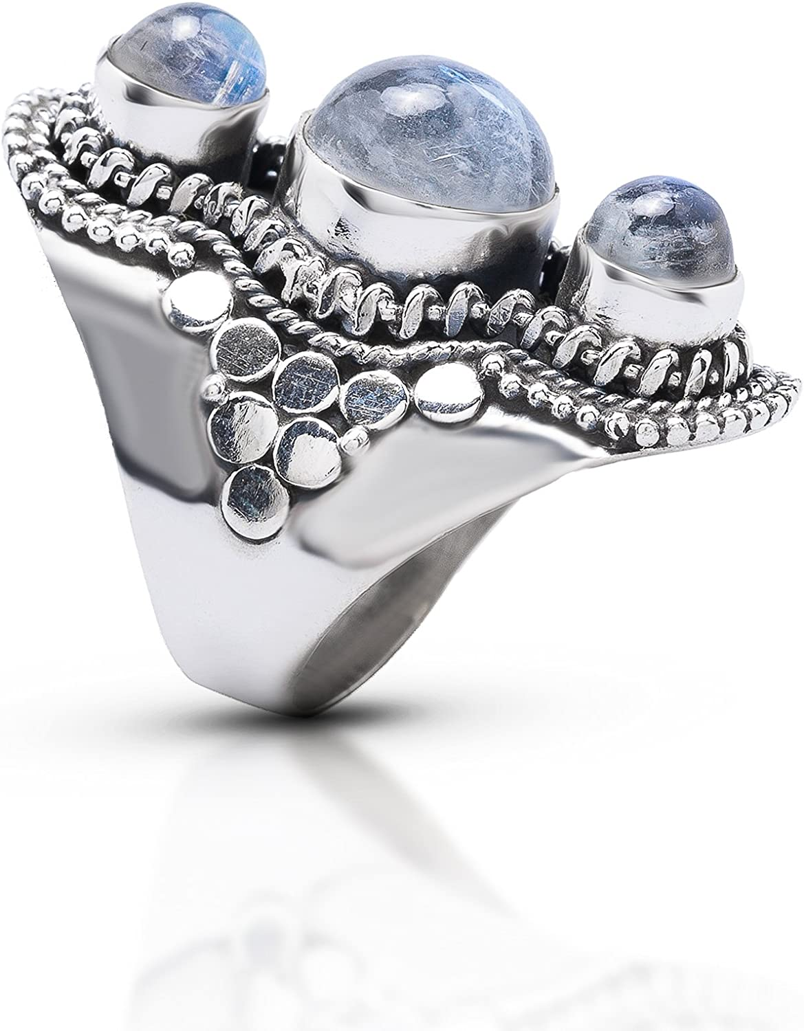 Moonstone At the price of surprise 3 Stones Cheap mail order sales Vintage Gipsy Ring US Siz 925 Sterling Silver