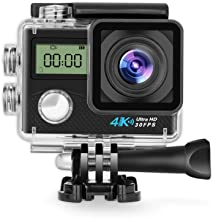 $34 Get Action Camera Panlelo V2 4K 16MP HD Action Cam for Helmet Video Camera Underwater WiFi 170 Degree Wide Angle Sports Camera Waterproof for Snorkeling Diving Cameras 2 Screen