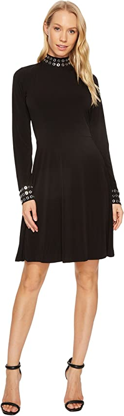 MICHAEL Michael Kors - Grommet Mock Neck Long Sleeve Dress