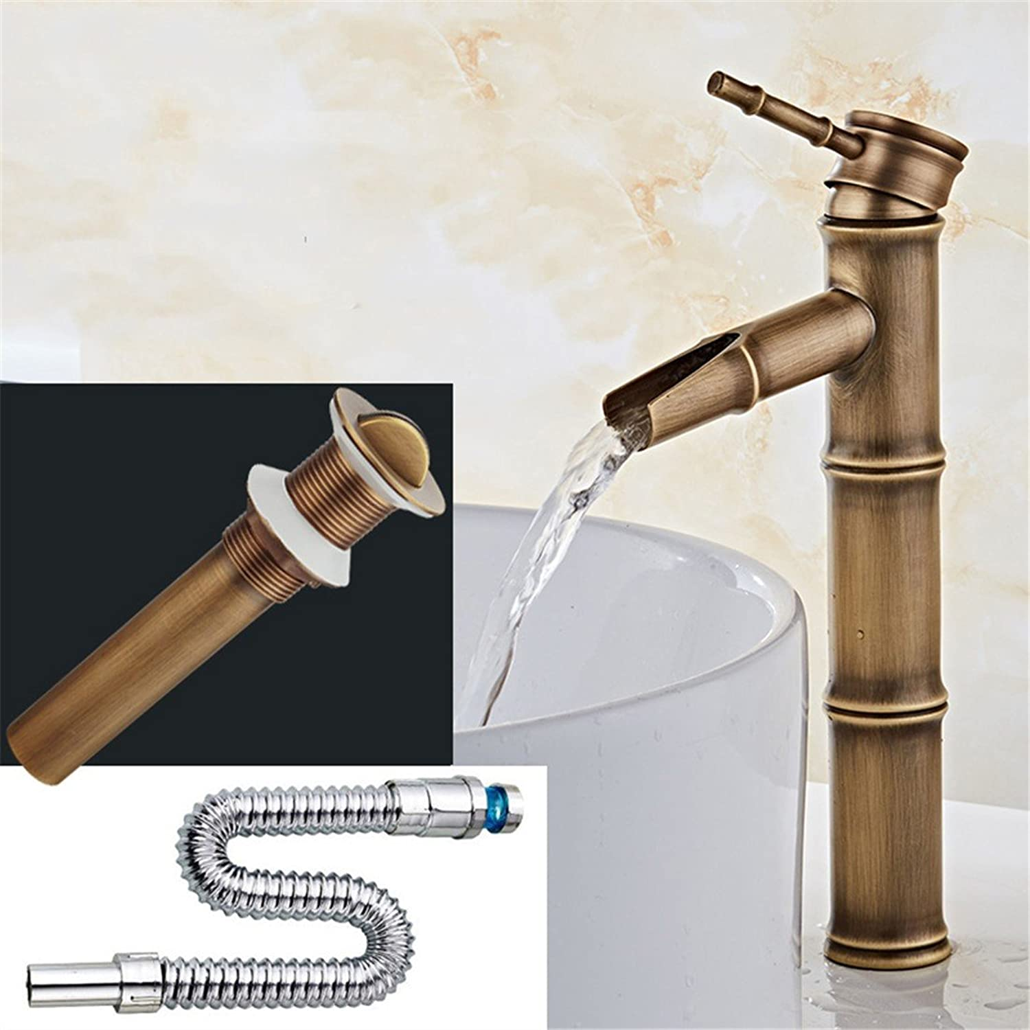 All copper antique faucet hot and cold basin faucet European faucet bathroom sink faucet, a hot and cold full Set 2